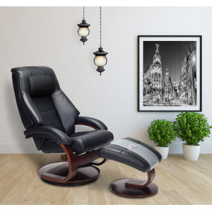 Milan Black Top Grain Leather Manual Recliner with Ottoman and Pillow