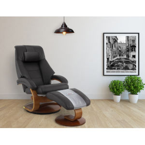 Milan Espresso Top Grain Leather Manual Recliner with Ottoman and Pillow