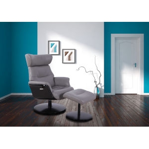 Sara Steel Breathable Air Leather Manual Recliner and Ottoman