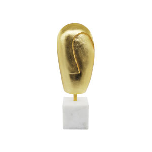 Gold Leaf and White Carrara Marble Face Sculpture