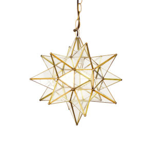 Brass and Clear Glass 15-Inch Star Chandelier