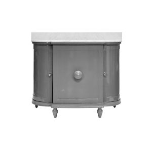 Glossy Dark Grey Lacquer and White Carrara Marble Vanity