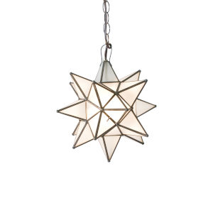 Antique Brass 15-Inch Frosted Star Chandelier