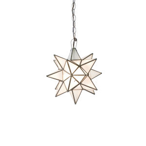 Antique Brass 20-Inch Frosted Star Chandelier