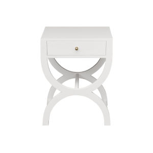 Matte White Lacquer Side Table