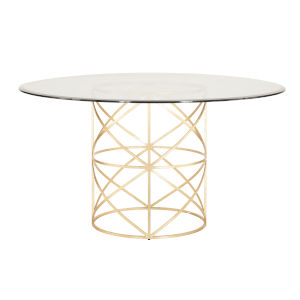 Gold Leaf 48-Inch Dining Table with Glass Top