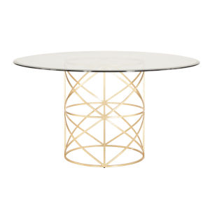 Gold Leaf 54-Inch Dining Table with Glass Top