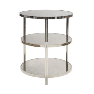 Polished Nickel 22-Inch Three-Tier Side Table