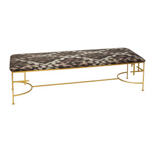Gold Leaf and Brown Ikat Bench