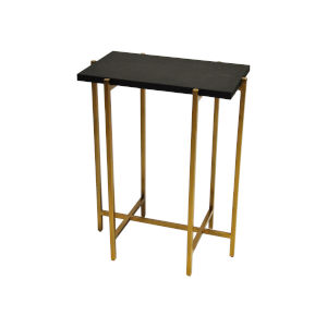 Antique Brass and Black Faux Shagreen Side Table