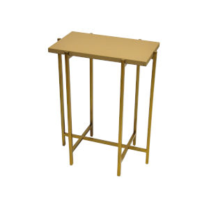 Antique Brass and Beige Faux Shagreen Side Table