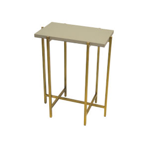 Antique Brass and Gray Faux Shagreen Side Table