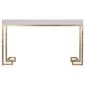 Glossy White Lacquer and Gold Leaf Console Table