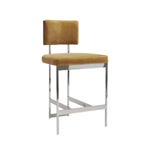 Polished Nickel and Camel Velvet Bar Stool