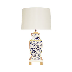 Navy and White Table Lamp