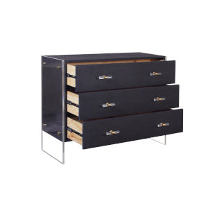 Navy Shagreen and Acrylic Three Drawer Chest