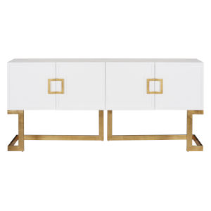 Glossy White Lacquer and Gold Leaf Media Console with Square Handle