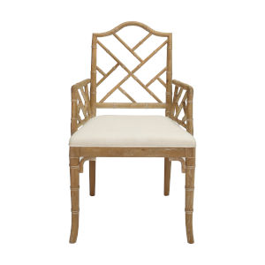 Cerused Oak and White Linen Dining Armchair