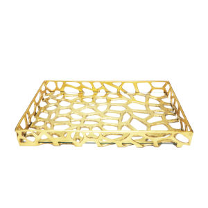 Gold Leaf Tray with Glass Bottom