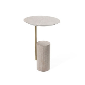 Cerused Oak and Btushed Brass Round End Table
