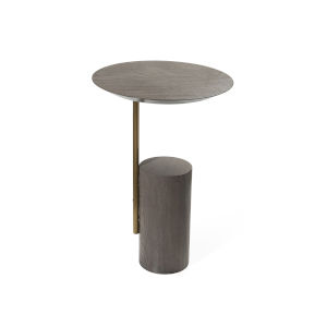 Smokey Grey Oak and Brushed Brass End Table