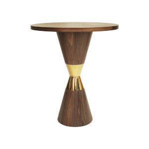 Matte Walnut and Polished Brass Pub Table