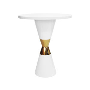 Glossy White Lacquer and Polished Brass Pub Table
