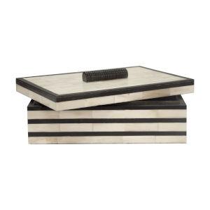 Natural Bone and Black 12-Inch Decorative Box
