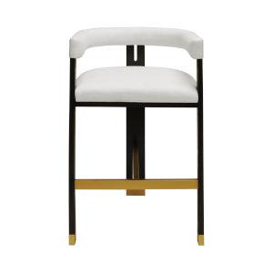 Dark Espresso Oak and White Linen 39-Inch Upholstery Bar Stool