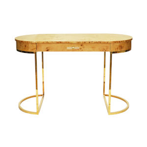 Glossy Burl Wood and Polished Brass Oval Desk