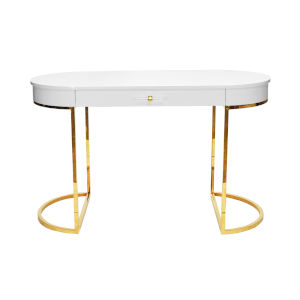 Glossy White Lacquer and Polished Brass Desk