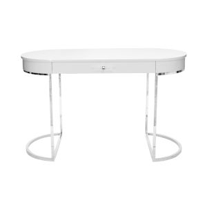 Glossy White Lacquer and Polished Nickel Oval Desk