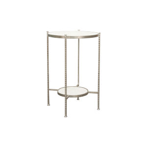 Silver Leaf and White Carrara Marble Twi-Tier Round Side Table