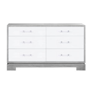 Grey Cerused Oak and Acrylic Six Drawer Chest