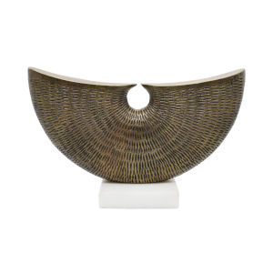 Anitque Brass and White Marble Semi-Circle Hammered Sculpture
