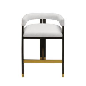 Dark Espresso Oak and White Linen 33-Inch Upholstery Bar Stool