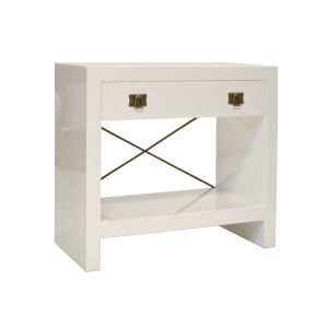 Glossy White Lacquer and Antique Brass Nightstand
