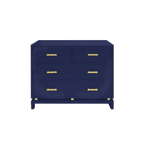Glossy Navy Lacquer and Gold Leaf Four Drawer Chest