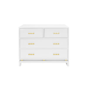 Glossy White Lacquer and Gold Leaf Four Drawer Chest