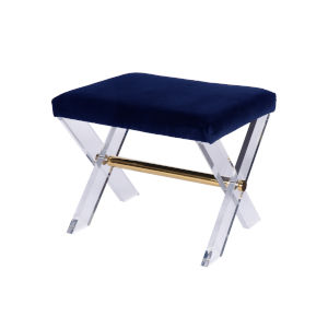 Polished Brass and Navy Velvet Stool