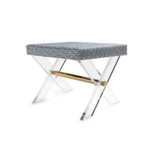 Polished Brass and Slate Blue Stool