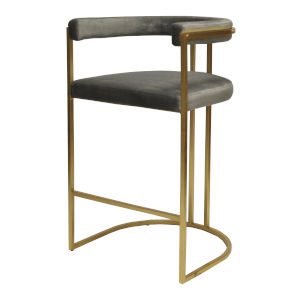 Gold Leaf and Grey Velvet 39-Inch Barrel Back Bar Stool