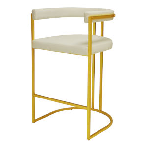 Gold Leaf and White Vinyl Barrel Back Bar Stool