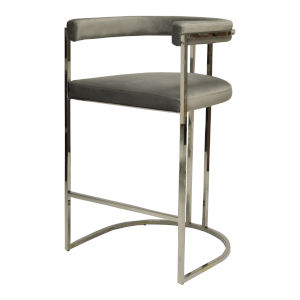 Polished Nickel and Grey Velvet 39-Inch Barrel Back Bar Stool