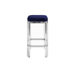 Acrylic, Polished Nickel and Navy Velvet 27-Inch Counter Stool with Cushion