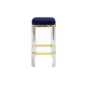Acrylic, Polished Brass and Navy Velvet 27-Inch Counter Stool with Cushion