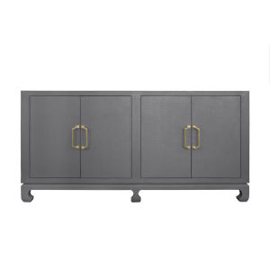 Grey Basketweave Grasslcoth and Antique Brass Four Door Buffet