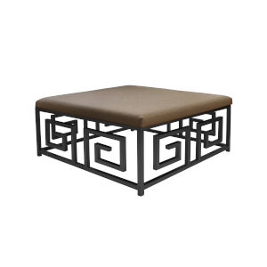Black Powder Coat and Natural Linen Square Ottoman with Cushion