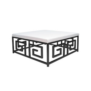 Black Powder Coat and White Ostrich Square Ottoman with Cushion