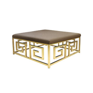 Gold Leaf and Natural Linen Square Ottoman